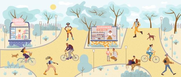 夏の都市自然公園での人々の日のレクリエーション