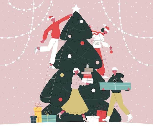 사람들은 크리스마스 트리를 장식합니다 전나무 나무를 함께 장식하는 행복한 친구 만화 벡터 세트