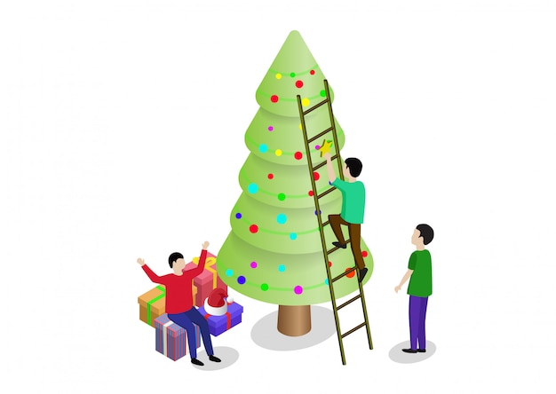 People decorate christmas tree and prepare gift boxes together. can use for web banner, infographics, hero images.