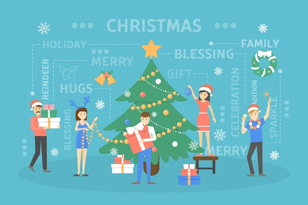 People decorating big christmas tree. happy characters preparing for new year celebration. guys holding gift and drinking champagne.   illustration