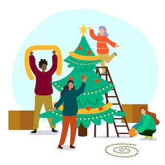 People decorating christmas tree collection
