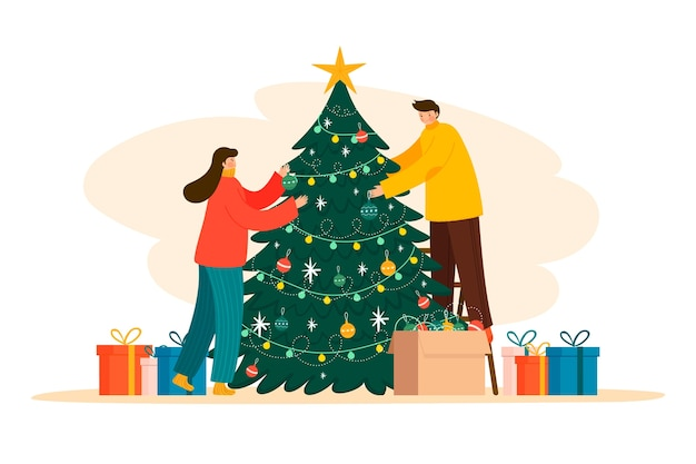 People decorating christmas tree illustration