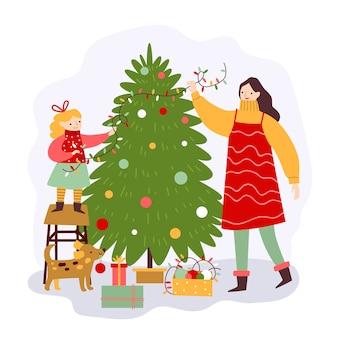 People decorating christmas tree illustration