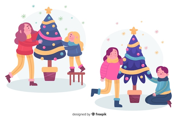 People decorating christmas tree together illustrated