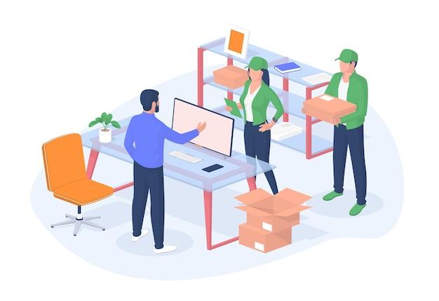 Люди доставляют посылки в офис реалистично. персонаж-босс встречается в кабинете мужчина и женщина в желтой форме с листом коробки