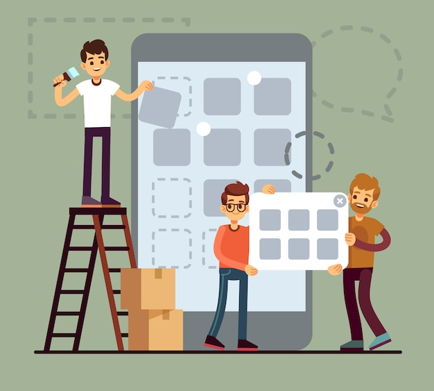 People developing cellphone ui design. mobile phone app technology vector flat concept. illustration of phone app development, mobile interface application