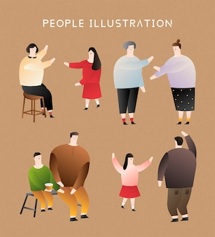 People of different ages in flat design