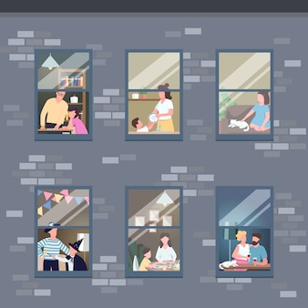 People in different apartments windows flat color illustration. family leisure time activities. couple spend time together. self isolated 2d cartoon characters with interior on background