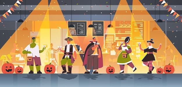 People in different costumes celebrating happy halloween holiday mix race men women drinking cocktails having bar party full length horizontal vector illustration