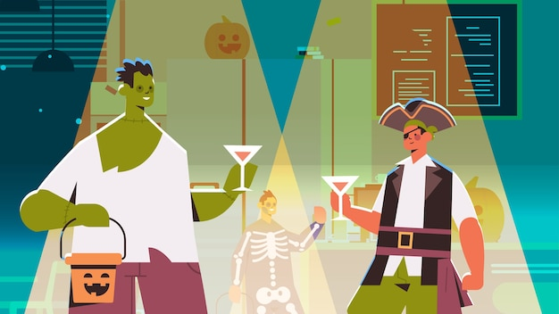 People in different costumes celebrating happy halloween holiday mix race men women drinking cocktails having bar party portrait horizontal vector illustration