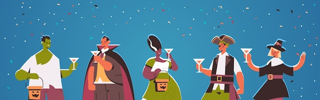 People in different costumes celebrating happy halloween party concept mix race men women having fun greeting card portrait horizontal vector illustration