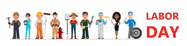 People of different occupations. labor day