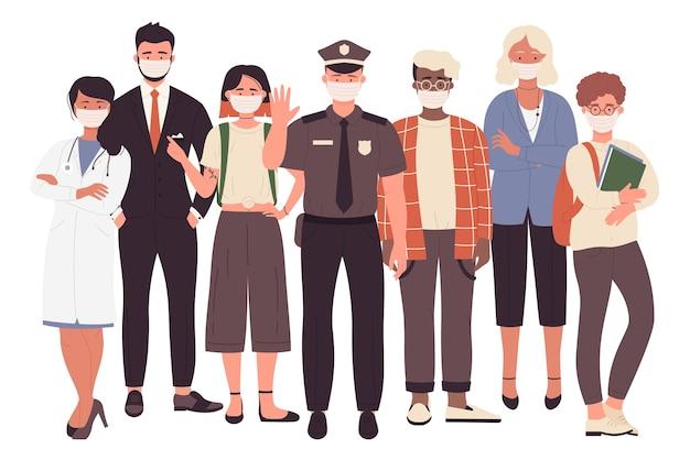 Covid 시간 동안 얼굴 보호 마스크를 가진 사람들의 다른 직업