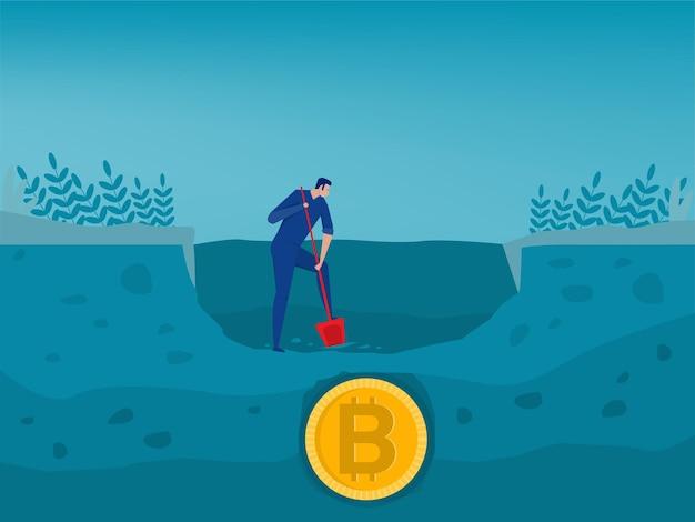 Люди копают и открывают иллюстрацию золотой монеты биткойн
