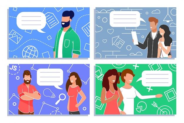 人々デジタル通信およびマーケティングセット