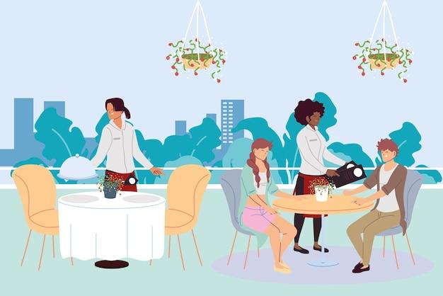 고급 야외 고급 레스토랑에서 식사하는 사람들과 주문 일러스트레이션 디자인을받는 웨이터