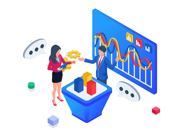 People do discuss business development. isometric business brainstroming concept.