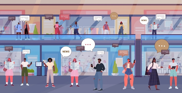Люди обсуждают ежедневные новости во время встречи в торговом центре чат пузырь связи концепция смешивать посетителей гонки ходить в розничном магазине полной длины горизонтальной иллюстрации
