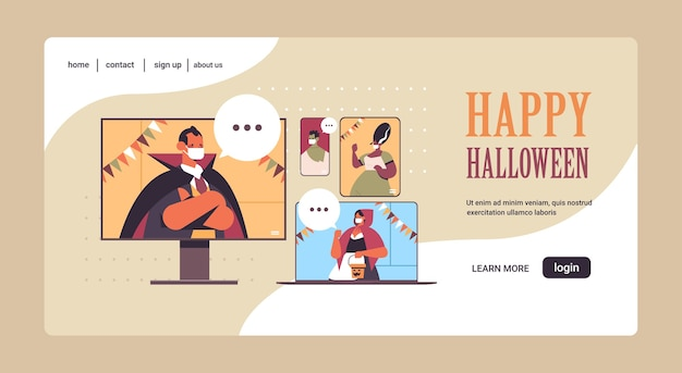 Люди обсуждают во время видеозвонка счастливого хэллоуина карантин коронавируса онлайн-общение мужчины женщины в разных костюмах на экранах цифровых устройств портрет горизонтальный векторная иллюстрация