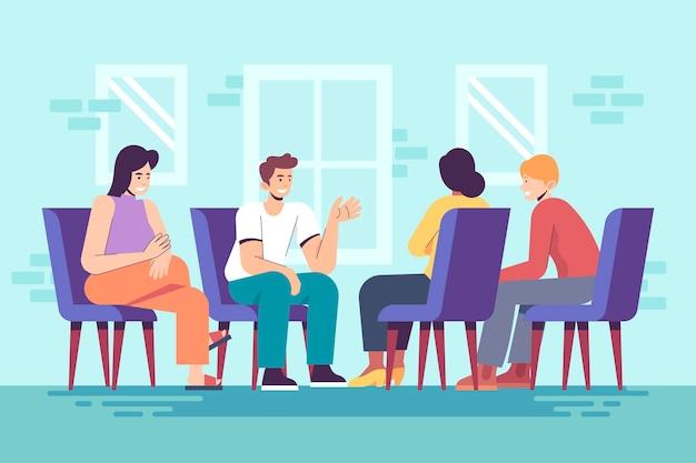 Люди обсуждают в терапии