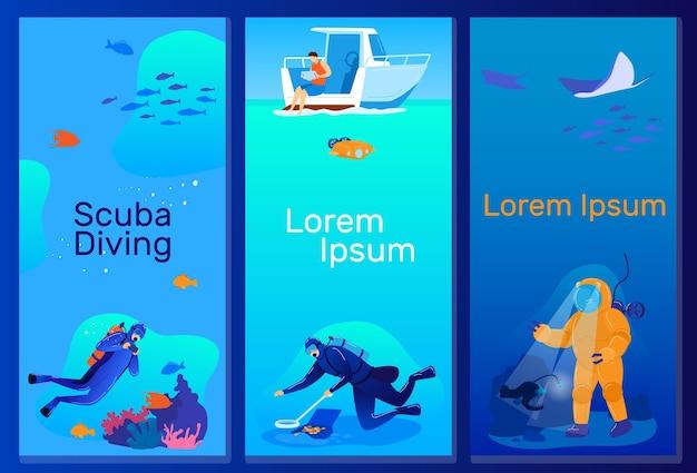 ダイビングベクトルイラストセット。漫画のフラットスキューバダイバーキャラクターが海や海の熱帯の自然にダイブし、自然のサンゴ礁の魚と泳ぐ