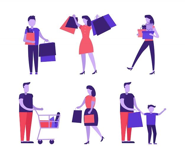Люди делают покупки с магазинами.