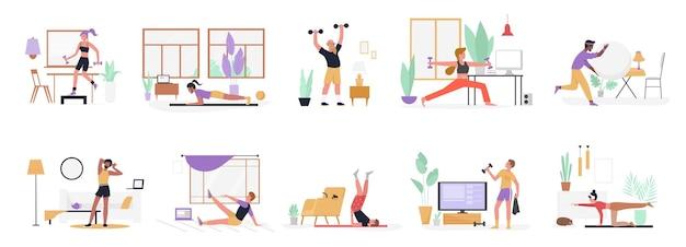 Люди делают спортивные упражнения дома, устанавливают здоровую фитнес-тренировку с гантелями и мячом