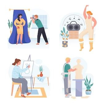 Люди делают свои любимые хобби концептуальные сцены, устанавливают векторные иллюстрации персонажей