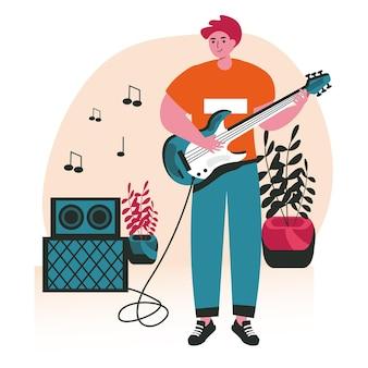 사람들은 좋아하는 취미 장면 개념을 수행합니다. 남자는 기타 연주를 배우고 있습니다. 음악가는 무대에서 기타와 함께 노래를 연주하고 창의적인 사람들 활동을 합니다. 평면 디자인에 문자의 벡터 일러스트 레이 션