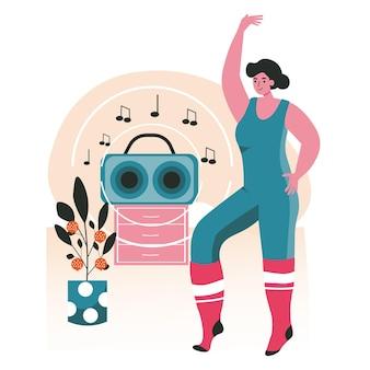 人々は自分の好きな趣味のシーンのコンセプトを行います。レコードプレーヤーと一緒に部屋で家で踊る女性。ダンススタジオの人々の活動におけるダンサーのトレーニング。フラットなデザインの文字のベクトル図