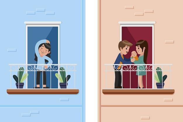 Люди делают мероприятия на тему балкона