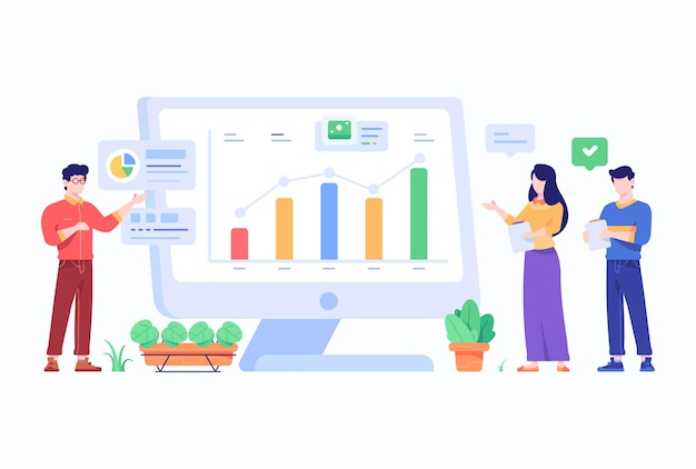 People doing business chart presentation and analysis concept flat style design illustration