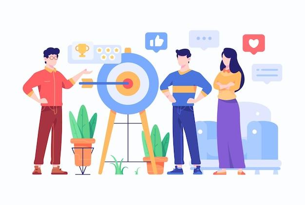People doing business market target presentation flat style design illustration