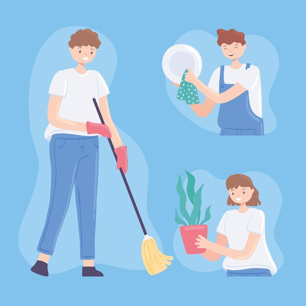 People doing cleaning