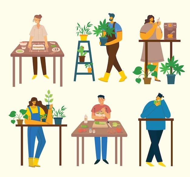 Люди занимаются разными видами деятельности: готовят, садятся, читают дома.
