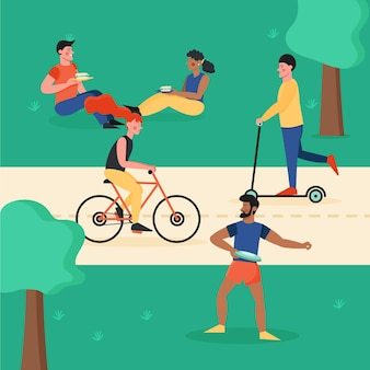 Люди, занимающиеся различными видами деятельности на свежем воздухе