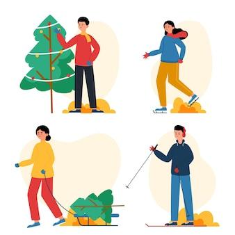 さまざまな冬のアクティビティを行う人々アウトドアセット