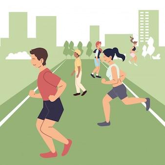 도시 디자인에서 운동을하는 사람들, 건강한 스포츠 및 야외 활동 유지
