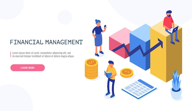 People doing financial auditor in isometric style