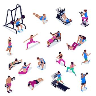 체육관에서 체력과 요가하는 사람들