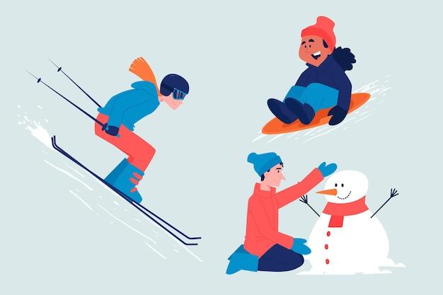楽しい冬のアクティビティセットをしている人々