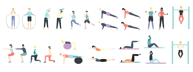 People doing health kinds of fitness exercises in sport illustration isolated on white.