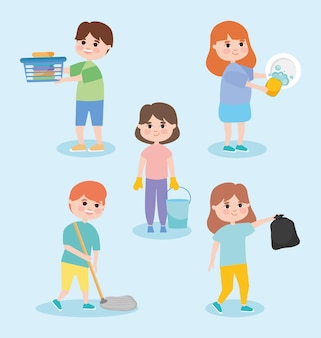 People doing household chores set