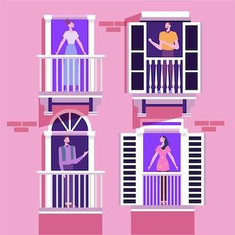 Persone che svolgono attività ricreative sui balconi