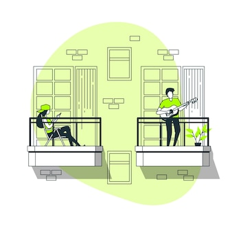 People doing leisure activities on the balcony concept illustration