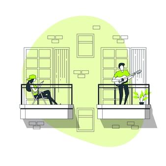 La gente che fa le attività di svago sull'illustrazione di concetto del balcone