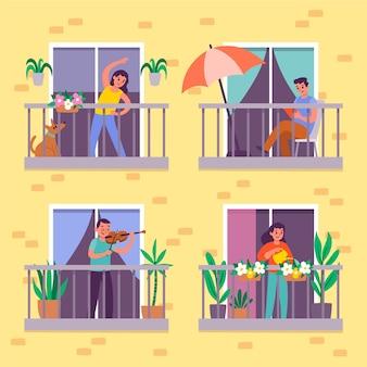 People doing leisure activities on the balcony
