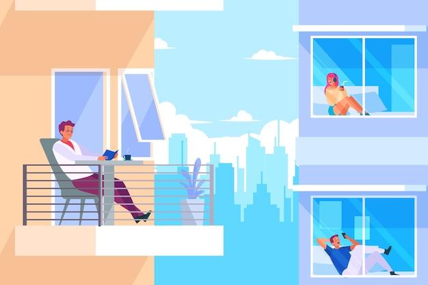 People doing leisure activities on balcony