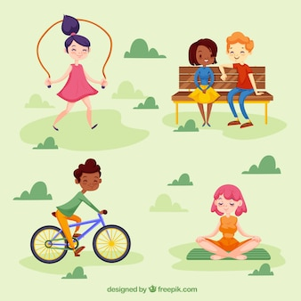 People doing leisure activities with flat design