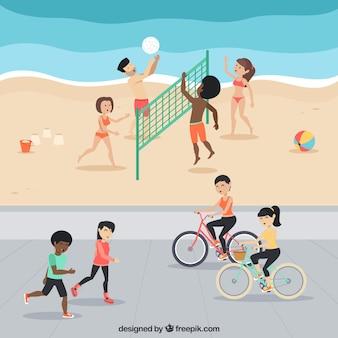 People doing leisure outdoor activities